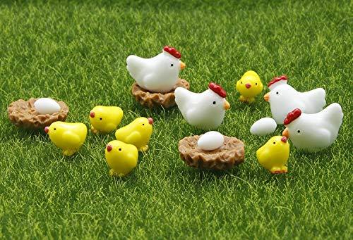 ODDIER Mini Resin The Chickens and Eggs Set Miniature Plant Pots Bonsai Craft Micro Landscape DIY Decor