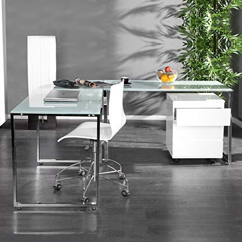 cagü - DESIGN SCHREIBTISCH ECKSCHREIBTISCH [MANHATTAN] WEISS aus GLAS & CHROM 180cm x 160cm, NEU!