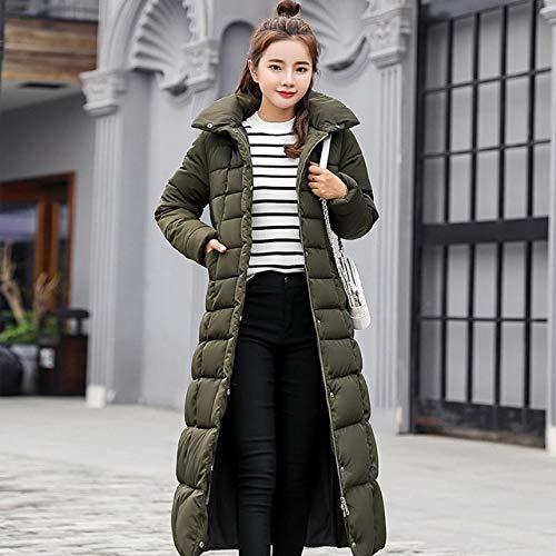 SWAQS donsjack voor dames, 2019, nieuwe aankomst kraag met capuchon, ritssluiting, lange mantel voor dames, riem, warme dames, winterjas, groen, geen bontkraag