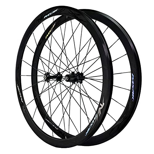 TYXTYX Juego de Ruedas de Bicicleta de Freno V 700C Aleación de Aluminio 40MM Ruedas de Ciclismo de Carretera Llanta 24 Orificios para 7 8 9 10 11 velocidades (Color: Blanco)