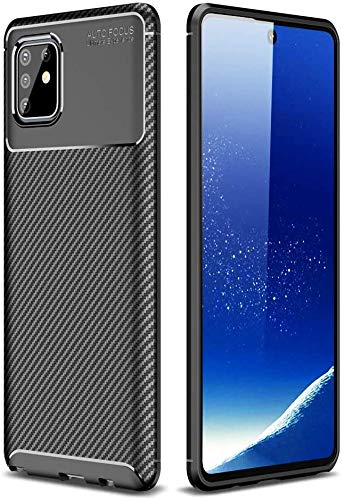 Capa Capinha Anti Impacto Para Samsung Galaxy Note 10 Lite Case Com Desenho Fibra De Carbono Shock Queda - Danet (Preto)