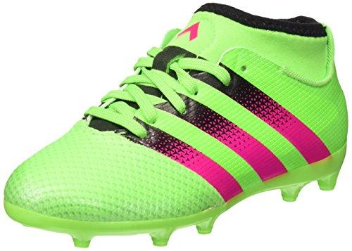 adidas Unisex Kinder Ace 16.3 Primemesh FG/AG J Fußballschuhe, Grün/Pink/Schwarz (Versol/Rosimp/Negbas), EU 33