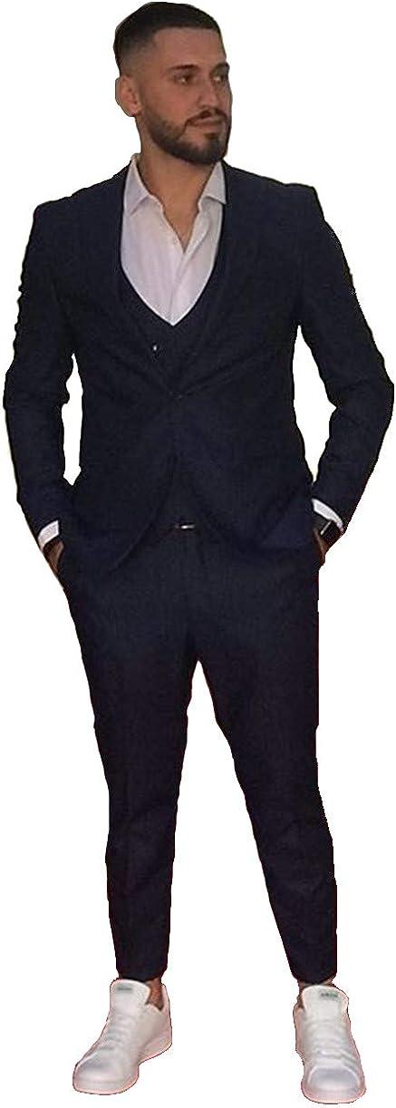 Michealboy Men's Suit 3 Pieces Dark Navy Blue Vested Suit Slim Fit Customized Size