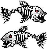 Digital Skeleton Fish (2) Vinyl Decals for Boat Fishing Graphics Bone Sticker (Medium)