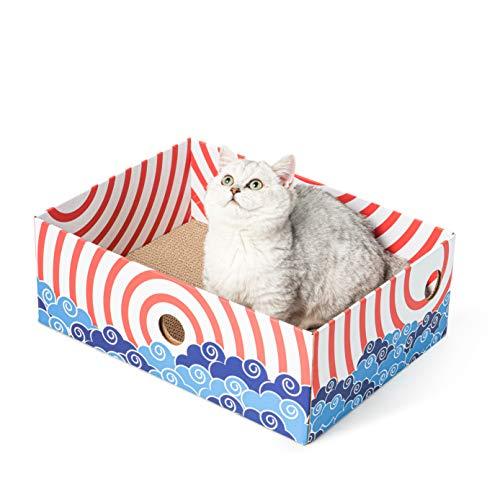 tiragraffi per gatti in cartone ondulato Conlun Scatola di Graffi di Gatto tiragraffi per Gatti Cartone Ondulato Portatile con tiragraffi Cartone per Gatti bifacciale e Design del Foro interattivo