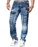 Kosmo Lupo Jeans KM020 Regular Fit Washed Style Club Wear (W32/L32)