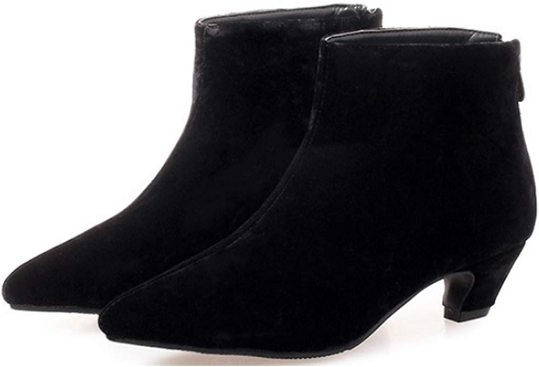 Yu He Women's Lenny Kitten Low Heel Pointy Toe Ankle Bootie Boots