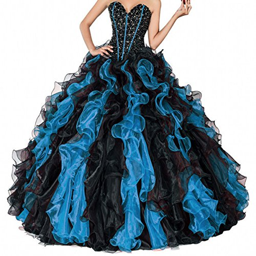 Fair Lady 2020 Sweetheart Beaded Ball Gown Prom Dresses Formal Long Black Red Ruffles Princess Quinceanera Dresses