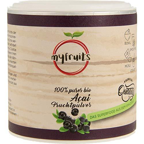 myfruits® Bio Acai Pulver - gefriergetrocknet, ohne Zusätze, dunkelviolett. Das Superfood aus dem Amazonas. Aus 1,8 kg frischen Acai Beeren(70g)