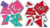 Juego de 2 imanes de metal con diseño de Jack & ParalOlympics de Londres 2012 para frigorífico, diseño oficial de los Juegos Olímpicos y Paralímpicos de Londres 2012 + llavero oficial de tenis y fútbol