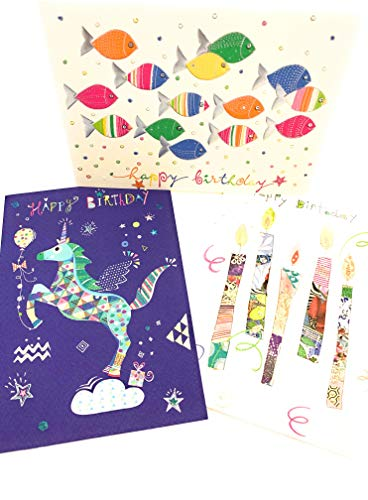 Set aus 3 Glückwunschkarten zum Geburtstag - hochwertige Geburtstagskarten von Turnowsky (Motive: bunter Fischschwarm, Einhorn und Kerzen mit Happy Birthday Schriftzug)