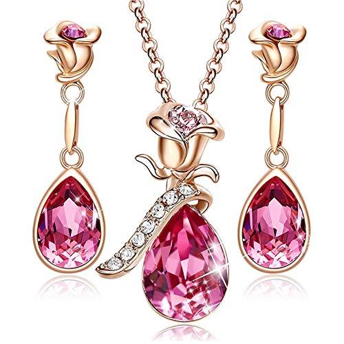MINCHEDA Flor Juego de Collar y Pendientes de Cristal, Regalo de Día de la Madre/San Valentín/Cumpleaños/Aniversario para Mamá