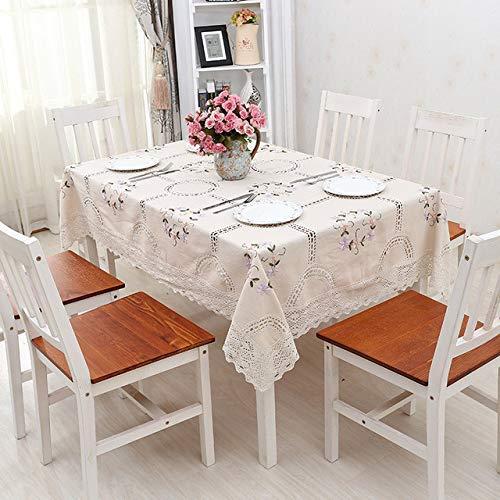 DAKEUR Tovaglia di Lino di Cotone Fatto a Mano all'Uncinetto Ricamato Orlo di Pizzo Fodera in Stile Europeo tovaglia Lavabile tavolino Beige 130 X 180 cm