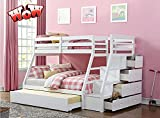 TOEIGEYNR Best Bunk Bed Twin Over Full Size, Solid Wood Twin Over Full Size Bunk Bed Frame with Storage Ladder and Trundle for Kids Adult Boys Girls,No Box Spring Needed,Easy to Assemble (White)