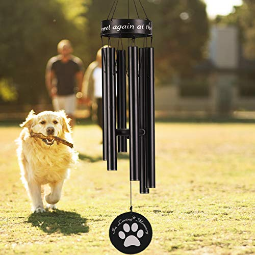 WavKin Dog Memorial Wind Chimes 30#039#039 Dog Paw Print Wind Chime OutdoorSympathy Chimes Gift for The Loss of Dogs/Pet/Dog OwnersMemorial Dog Wind Chimes for OutsideDeep Tone Chimes DecorBlack