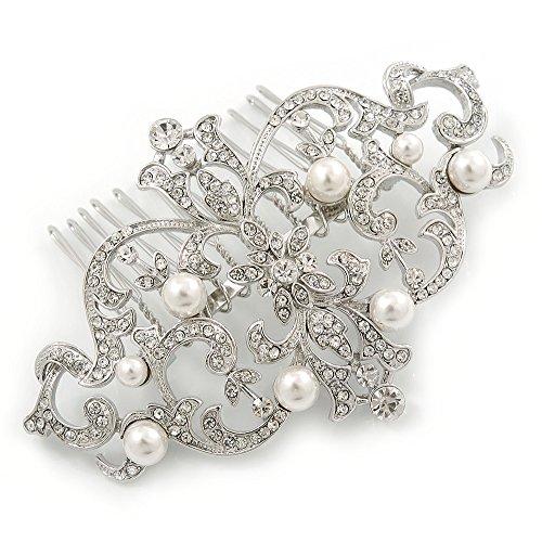 Suite/boda/diseño de vestido de fiesta/chapado en rodio estilo Art decó de fiesta blanco perlas de imitación y Cristal austríaco peine - 95 mm W