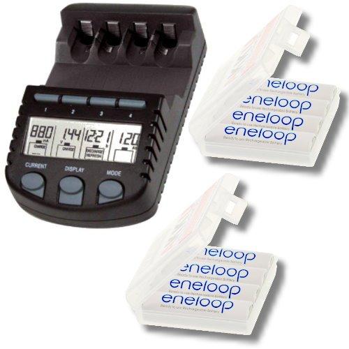 Technoline BC-700 Akku Ladegerät / Schnellladegerät BC700 mit LCD-Display inkl. 8er Pack Sanyo Eneloop Mignon AA Akkus in Kraftmax Akkuboxen - NEUESTE VERSION