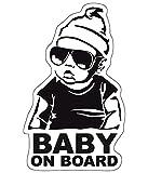 Finest-Folia Baby On Board Sticker 12 x 7 cm Autoadhesivo Pegatinas Auto Coche Adhesivo Resistente al UV Agua (Baby on Board, Niño)