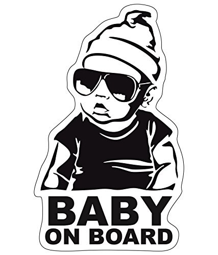 Finest-Folia Baby On Board Sticker 18 x 10 cm Autoadhesivo Pegatinas Auto Coche Adhesivo Resistente al UV Agua (Baby on Board, Niño)