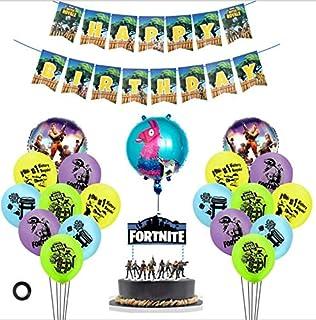 مجموعة بوالين دائرية من الالمنيوم مستوحاة من لعبة فورتنايت مع كعكة عيد الميلاد، انها مجموعة رائعة لتزيين الحفلات