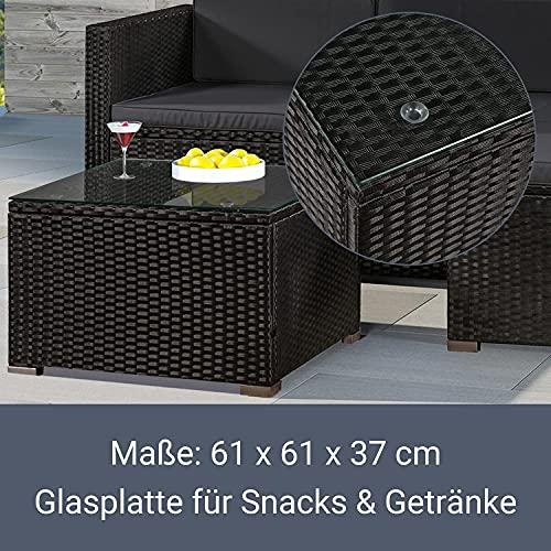 ArtLife Polyrattan Lounge Punta Cana M schwarz – Gartenlounge Set für 3-4 Personen – Gartenmöbel-Set mit Sofa, Tisch und Hocker – Sitzbezüge in Dunkelgrau - 4