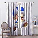 Waple Cortinas opacas ojete para sala de estar Juego de dibujos animados lindo personaje de seta azul 150*166cm Cortinas para interiores, bonitas impresiones para dormitorio, cortinas opacas con ojale