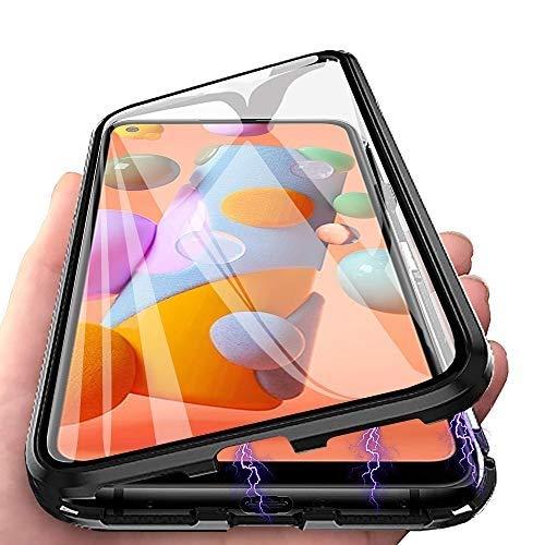 Galaxy A21S Hülle, Handyhülle für Samsung Galaxy A21S Hülle Magnetic Adsorption, HülleLover 360 Grad Komplettschutz Schutzhülle Clear Doppelseitige Aus Gehärtetem Glas Metall Flip Hülle Tasche, Schwarz