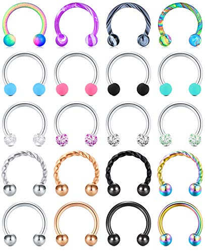 """MODRSA 16g Septum Ring 8mm Horseshoe Bull Nose Rings Hoop Stainless Steel and Plastic Septum Piercing Jewelry Colorful Ball Cartilage Tragus Helix Daith Earrings Hoops 5/16"""" Silver Rose Gold Black"""