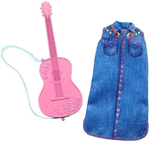 Barbie GHX39 - Karriere Mode, Kleidung - Musikerin mit Jeans Kleid und Gitarre