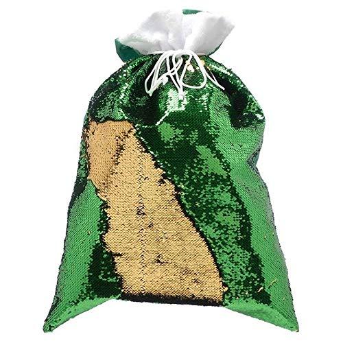 Christmas Shop - Sacco per regali reversibile con paillettes da 70cm (Taglia unica) (Verde/Oro)