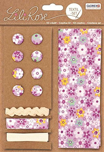 Lili Rose Textile Kit Violet Fleurs 48 x 48 cm Bandes 3 x 1 m 8 boutons