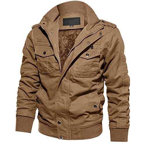 MAGCOMSEN Herren Fliegerjacke Warme Fleecejacke Gefütterte Winterparka Lässig Militär Jacke Taktische Jacken Stehkragen Jacke Windjacke Mantel Retro Jacke Khaki L (Etikett: XL)