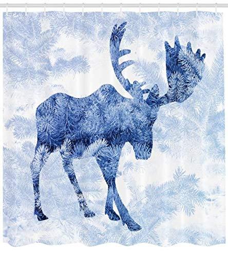ABAKUHAUS Elch Duschvorhang, Blauer Winter Antlers Baum, Waserdichter Stoff mit 12 Haken Set Dekorativer Farbfest Bakterie Resistet, 175 x 200 cm, Blau Weiß