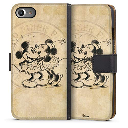 DeinDesign Klapphülle kompatibel mit Apple iPhone SE (2020) Handyhülle aus Leder schwarz Flip Case Mickey Mouse Offizielles Lizenzprodukt Minnie Mouse