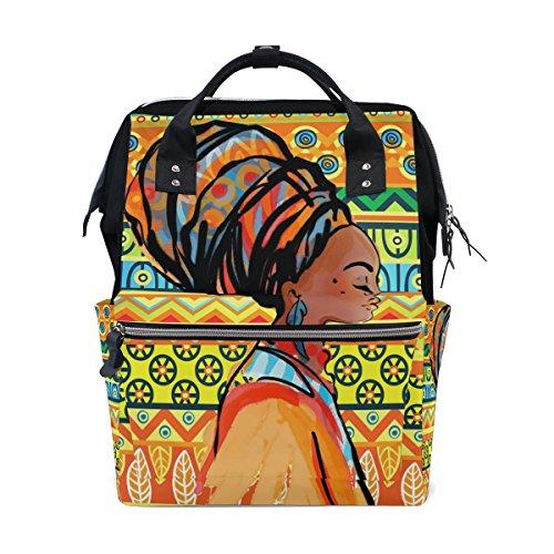 Ahomy Sac à langer à langer Sac à dos Africa Woman Art pour ordinateur portable Sac d'école Léger Sac à dos pour homme et femme