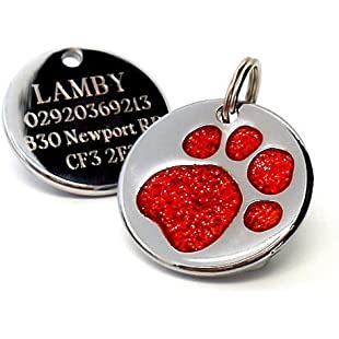 Engraved 25mm Glitter Paw Print Dog Pet ID Tag Disc.......TO LEAVE ENGRAVING DETAILS PLEASE READ PRODUCT DESCRIPTION LOWER DOWN THIS PAGE. (Red):Isfreetorrent