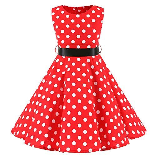 SXSHUN Mädchen Retro Vintage Rockabilly Kleid Partykleider Cocktailkleider Im 50er-Jahre-Stil, Rot + Weiß Punkt, 122/128 (Etikettengröße:130)