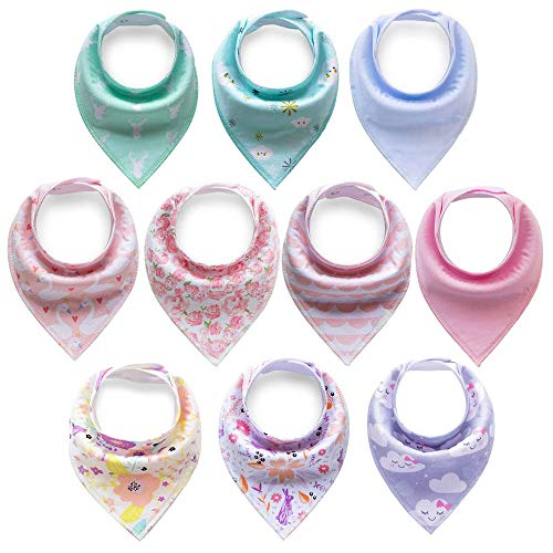 Cherub 10-Pack Baby Bandana Drool Bibs for Teething Boys Girls