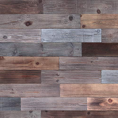 Holydecot Peel and Stick Wood Wall Panels, Real Wood, Solid Wood Planks DIY Easy Peel and Stick Application, Rustic Reclaimed barn Wood Paneling for Accent Walls, Brown Gray Combinations, 10.6 sq. ft