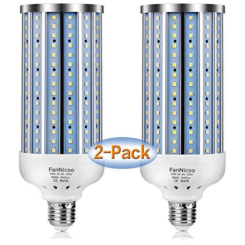 2 Pack 450W Equivalent LED Corn Light Bulb 5000 Lumen 6500k 50W Large Area Cool Daylight White E26/E27 Medium Base for Outdoor Indoor Garage Warehouse Factory Workshop Street Backyard New Upgraded
