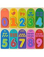 Jacootoys Nummer Houten Dikke Puzzel Voorschoolse Vroeg Educatief Speelgoed Cadeau voor Kinderen 10 Stuks