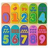 Jacootoys Puzzles de Madera 10 Números Bloques Gruesos Preescolar Juguetes Educativo Tempranos para 1 2 3+ Años Niño Niña