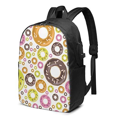 XCNGG Donuts Travel Laptop Mochila College School Bag Mochila Informal con Puerto de Carga USB