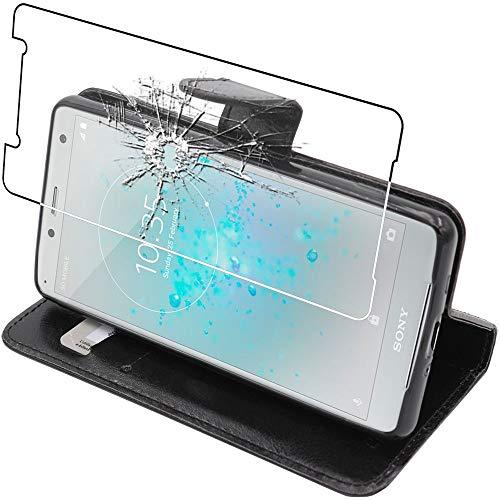 ebestStar - kompatibel mit Sony Xperia XZ2 Compact Hülle Kunstleder Wallet Hülle Handyhülle [PU Leder], Kartenfächern Standfunktion, Schwarz + Panzerglas Schutzfolie [Phone: 135 x 65 x 12.1mm, 5.0'']