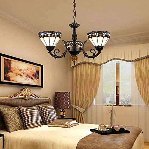 Kronleuchter Ohrringe Europäische Retro Kreative Glasmalerei Hotel Wohnzimmer Esszimmer Schlafzimmer Bar Drei-köpfige Glaskunst Kronleuchter Kronleuchter