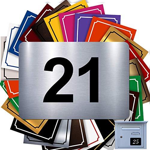 Numéro De Rue Pour Boîte Aux Lettres Adhésif - Numéro De Maison PVC – Plaque Gravée À Personnaliser - GRAND 10 x 7 cm – 21 Couleurs Disponibles (Gris Alu Brillant)