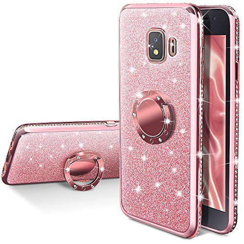 Galaxy J2 2019 Case,Galaxy J2 Pure/J2 Core/J2 Shine/J2 Dash/J260 Phone Case, Silverback Girls Women Bling Glitter Case with Ring Kickstand Protective Cover for Samsung J2 Core -Rose Gold