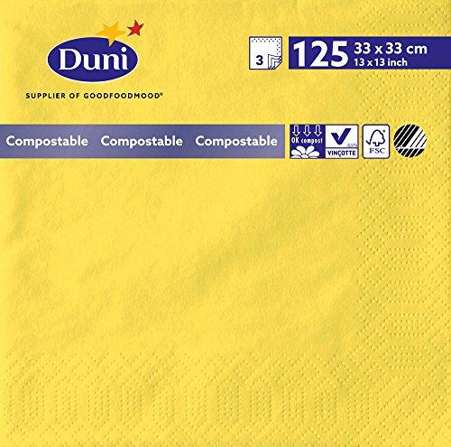 Duni 180437 3 plis Serviettes en papier, 33 cm x 33 cm, Jaune (lot de 1000)
