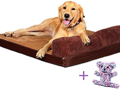 YXZQ Großes Hundebett Brauner Plüsch, Premium-Reißverschlüsse, Superweiches Haustierbett aus Schaumstoff, atmungsaktive Baumwollmischung Abnehmbarer waschbarer Bezug und Spielzeug als Geschenk (6