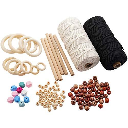 Gesh Kit de macramé de 109 yardas, cuerdas de macramé con cuentas de madera, anillos de madera, varillas de madera para colgar plantas, manualidades, tejer